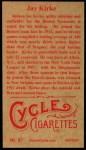1912 T207 Reprint  Jay Kirke  Back Thumbnail