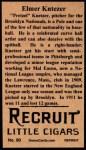 1912 T207 Reprint  Elmer Knetzer  Back Thumbnail