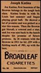 1912 T207 Reprint  Joseph Kutina  Back Thumbnail