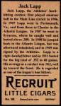 1912 T207 Reprint  Jack Lapp  Back Thumbnail