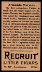 1912 T207 Reprint  Armando Marsans  Back Thumbnail