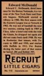 1912 T207 Reprint  Ed McDonald    Back Thumbnail