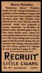 1912 T207 Reprint  Harry McIntire  Back Thumbnail