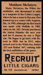 1912 T207 Reprint  Matthew McIntyre  Back Thumbnail