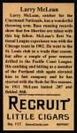 1912 T207 Reprint  Larry McLean  Back Thumbnail
