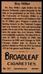 1912 T207 Reprint  Roy Doc Miller  Back Thumbnail