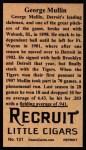 1912 T207 Reprint  George Mullin  Back Thumbnail