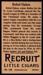 1912 T207 Reprint  Rebel Oakes  Back Thumbnail