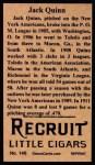 1912 T207 Reprint  Jack Quinn  Back Thumbnail