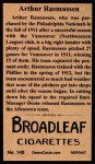 1912 T207 Reprint  Arthur Rasmussen  Back Thumbnail