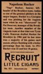 1912 T207 Reprint  Napoleon Rucker  Back Thumbnail