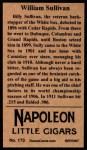 1912 T207 Reprint  Billy Sullivan  Back Thumbnail