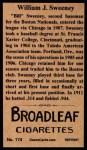 1912 T207 Reprint  Bill Sweeney  Back Thumbnail