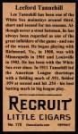 1912 T207 Reprint  Leeford Tannehill  Back Thumbnail