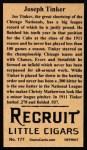 1912 T207 Reprint  Joseph Tinker  Back Thumbnail
