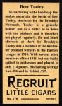 1912 T207 Reprint  Bert Tooley  Back Thumbnail