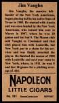 1912 T207 Reprint  Hippo Vaughn  Back Thumbnail