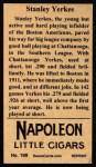 1912 T207 Reprint  Stanley Yerkes  Back Thumbnail