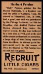 1912 T207 Reprint  Herbert 'Hub' Perdue    Back Thumbnail