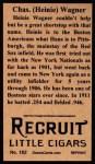 1912 T207 Reprint  Heinie Wagner    Back Thumbnail