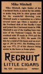 1912 T207 Reprint  Willie Mitchell  Back Thumbnail