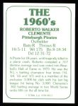 1978 TCMA The Stars of the 1960s #13  Roberto Clemente  Back Thumbnail