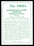 1978 TCMA The 1960's #194  Herm Starrette  Back Thumbnail