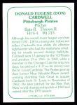 1978 TCMA The 1960's #89  Don Cardwell  Back Thumbnail