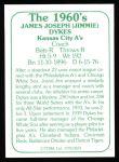 1978 TCMA The 1960's #224  Jimmy Dykes  Back Thumbnail