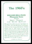 1978 TCMA The 1960's #135  Bill Pleis  Back Thumbnail