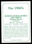 1978 TCMA The Stars of the 1960s #259  Bobby Del Greco  Back Thumbnail