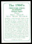 1978 TCMA The Stars of the 1960s #158  Fred Gladding  Back Thumbnail