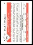 1979 TCMA The Stars of the 1950s #143  Billy Martin  Back Thumbnail