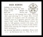 1950 Bowman REPRINT #50  Dick Kokos  Back Thumbnail