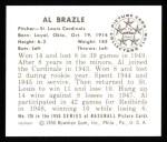 1950 Bowman REPRINT #126  Al Brazle  Back Thumbnail