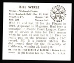 1950 Bowman REPRINT #87  Bill Werle  Back Thumbnail