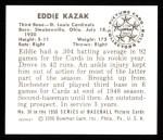 1950 Bowman REPRINT #36  Eddie Kazak  Back Thumbnail