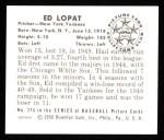 1950 Bowman REPRINT #215  Eddie Lopat  Back Thumbnail