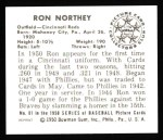 1950 Bowman REPRINT #81  Ron Northey  Back Thumbnail