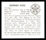 1950 Bowman REPRINT #150  George Vico  Back Thumbnail