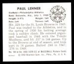 1950 Bowman REPRINT #158  Paul Lehner  Back Thumbnail