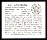 1950 Bowman REPRINT #239  Bill Howerton  Back Thumbnail