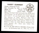 1950 Bowman REPRINT #171  Harry Gumbert  Back Thumbnail