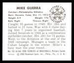 1950 Bowman REPRINT #157  Mike Guerra  Back Thumbnail