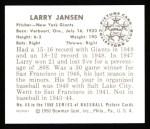 1950 Bowman REPRINT #66  Larry Jansen  Back Thumbnail