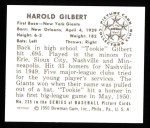 1950 Bowman REPRINT #235  Harold Gilbert  Back Thumbnail