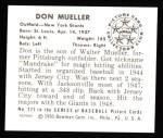 1950 Bowman REPRINT #221  Don Mueller  Back Thumbnail