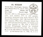 1950 Bowman REPRINT #15  Al Kozar  Back Thumbnail