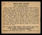1941 Gum Inc Uncle Sam #13   The Training Station Back Thumbnail