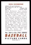 1951 Bowman REPRINT #264  Don Richmond  Back Thumbnail